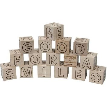 Natural Wood ABC Blocks with Storage Tray