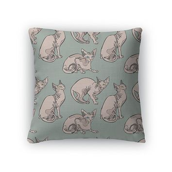 Throw Pillow, Cute Cats Hairless Naked Cats Sphynx Cats Pattern