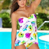Flyaway bandeau tankini, faultless moderate bottom Bathing Suit