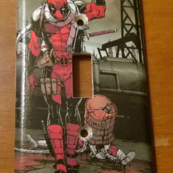 Deadpool Comic Book decoupage light switch cover