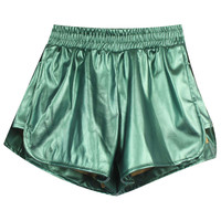 ROMWE | Double-layered Green Fake Leather Shorts, The Latest Street Fashion