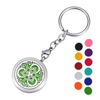 HOUSWEETY Aromatherapy Essential Oil Diffuser Key Chain - Stainless Steel Locket Keychain,11 Refill Pads(Non-Engraving)