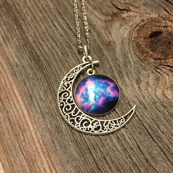 Purple and Blue Galaxy Moon Necklace