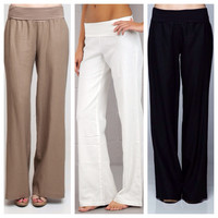 Linen Pants with Foldover Waist (choose color)