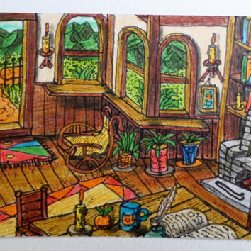 Original art aceo card of a cottage house interior and a window view 'I love my house','Across the window' ACEO series