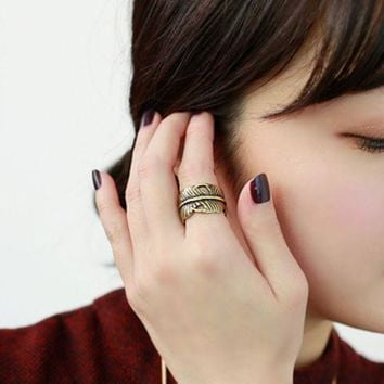 ONETOW Personality leaf spiral ring three sets