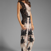 BCBGMAXAZRIA Print Jumpsuit in Black Combo from REVOLVEclothing.com
