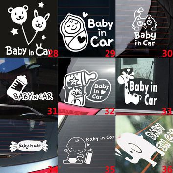 White Cartoon Cute Lovely Car Stickers  Vinyl Styling Baby In Car Warming Decal Baby on Board On Rear Windshield