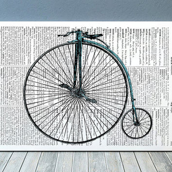 Victorian print Bicycle art Dictionary poster Steampunk print RTA1168