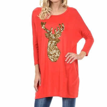 Sequined Reindeer Dolman Tunic - Red