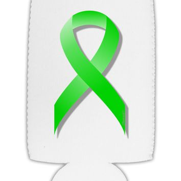 Lyme Disease Awareness Ribbon - Lime Green Collapsible Neoprene Tall Can Insulator