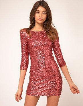 TFNC Sequin Dress with Long Sleeves