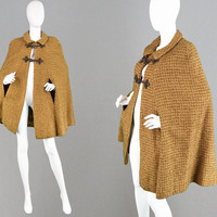 Vintage 60s 70s Wool Tweed Cape Coat Toggle Coat Fall Outerwear Woven Cape Woolen Cape Winter Coat Mod Cape Boho Cape Brown Poncho Collared