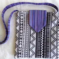 Black and white tribal bag/ Handmade woven fabric bag/ Black and white Aztec print with purple stripes/ Bohemian crossbody bag by Boho Rain