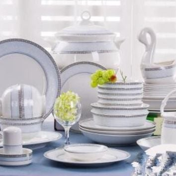 Ceramics dinnerware set 56 pieces bone china dishes