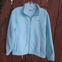 Girls COLUMBIA Fleece Jacket Size 18 20 XL Light Blue Coat