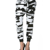Colorblocked Jogger Pants in Black and White