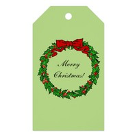 Christmas Holly Wreath with Red Bow and Berries Pack Of Gift Tags