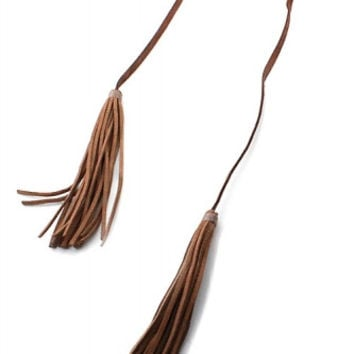 Faux Leather Tassel Double Wrap Choker Necklace - Brown