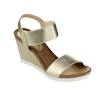 Women's Fabric Single Band Gold Color Ankle Strap Platform Wedge Sandal Shoes