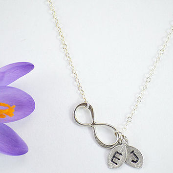 Personalized Vermeil Gold or Sterling Silver Infinity Charm handstamed initial leaf Necklace - Love, Sisterhood, Best Friend, Bridesmaid