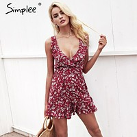 Simplee V neck back cross tie up floral print jumpsuit women High waist backless elastic jumpsuit romper Casual summer rompers