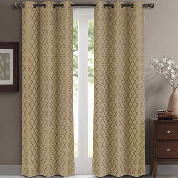 Taupe Willow Blackout Window Curtain Panels (Two Panels )