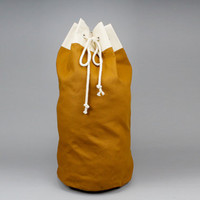 The Arnold Duffle // Caramel Brown Canvas Laundry or Duffle Bag with Rope Drawstring and Carrying Handle