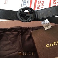 One-nice™ NWT Gucci Imprime Black Shiny GG Belt 223891 FU49X
