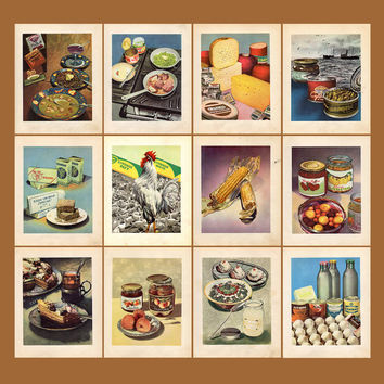 Set of 12 Vintage Pages (from Old Recipe-Book), Two-sided A4 Color Print - Printed in the USSR, Moscow, 1955