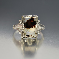 Vintage Art Deco Dendritic Sterling Picture Agate Ring