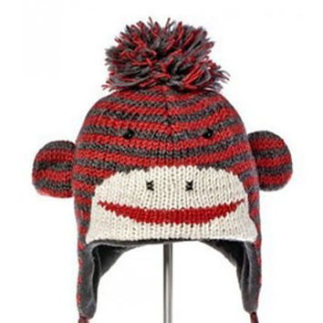 Knitwits Sock Wool Knit Monkey Hat - Fleece Lined 100% Natural Wool