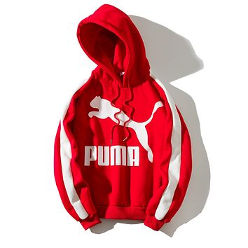 PUMA 2018 autumn and winter new products plus velvet loose hooded sweater red