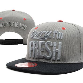 Sorry I'm Fresh Snapback New Era Baseball Caps Grey