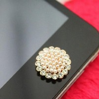 eBADA Brilliant Pearl Flower Iphone Crystal Home Return Keys Buttons Sticker For iPhone 4S iPhone 5 iPod Touch iPad Repair Fix Replace Replacement