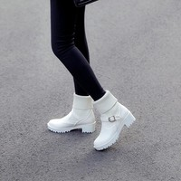 YMECHIC 2018 Winter Buckle Strap Slip on Knitting Punk Gothic High Block Heels Rock Ankle Motorcycle Boots Lady Shoes Plus Size