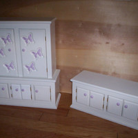 doll furniture dining hutch and buffett Handcrafted for American Girl 18 inch doll white with purple butterflies