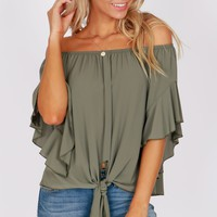 Off The Shoulder Ruffle Knot Top Avocado