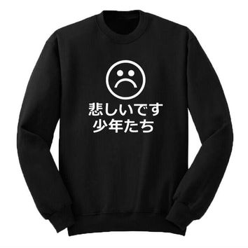 Japanese Sad Boys Sweatshirt Hip Hop Hoodies Mens Funny Crewneck Pullover Sweatshirt Fashion Harajuku Men Tops