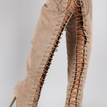 Venon Lace It Up Thigh-High Boots- FINAL SALE