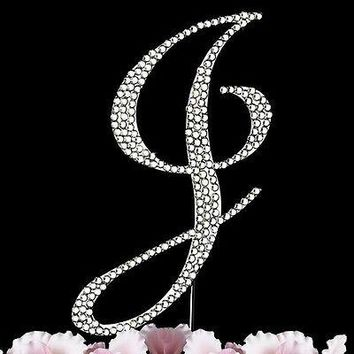 Silver Letter Initial J Birthday Crystal Rhinestone Cake Topper J Party Monogram