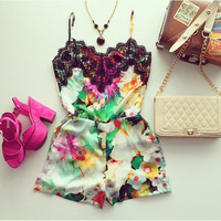 Sexy Stylish Print Mosaic Fashion Lace Spaghetti Strap Hot Sale Romper = 5861642881