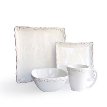 Bianca Wave White 16-piece Dinner Set | Overstock.com Shopping - The Best Deals on Casual Dinnerware