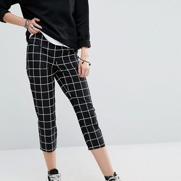 Noisy May Tall Grid Print Cropped Pants at asos.com