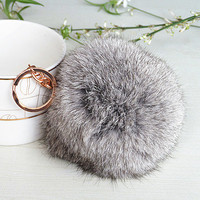 Fashion fur ball handmade keychain, Coney keychain,trend accessories,hot pink orange blue gray furball keychain, furball keychain /gift box