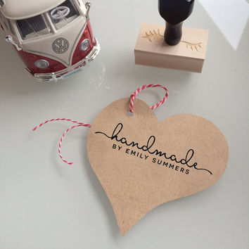 Handmade by - custom Rubber Stamp with a brush font