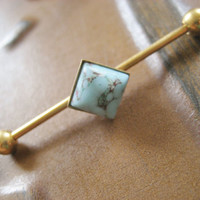 Turquoise Stone Cabochon Industrial Piercing Barbell Bar Earring Jewelry Kite Square Geometric Setting 14g 14 G Gauge