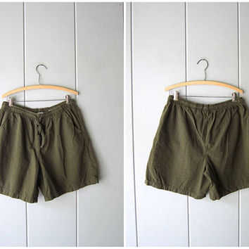 Drawstring Board Shorts 90s Elastic Waist Thin Cotton Shorts Army Green Shorts MOM Shorts with Pockets Vintage Beach Shorts Women Large