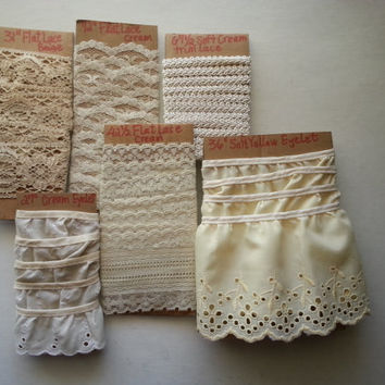 vintage lace trim . vintage eyelet trim . vintage sewing supplies . vintage scrap lace trim . set of 5 . sewing trim . cream and white trim