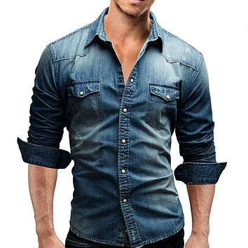 Men Distressed Denim Slim Fit  Shirt
